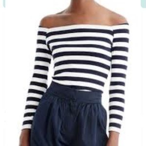 J crew blue stripe off shoulder tee Small